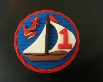 Fondant edible nautical birthday cake topper