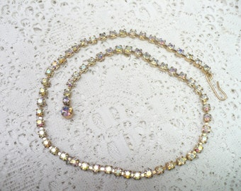 Vintage Simple Gold Aurora Borealis RHINESTONE Necklace - vintage WEDDING - Bridal necklace - Bridesmaid gift - Single strand - 16 inch