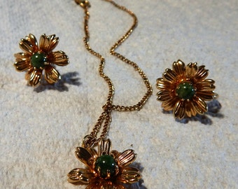 AMCO 14k GF Flower Necklace and Earrings