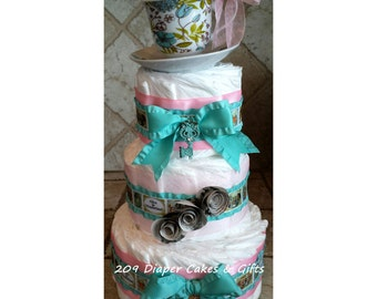 Vintage Alice in Wonderland Diaper Cake for Baby Girl Shower