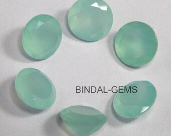 25 Piece Lot Aqua Chalcedony Round Shape Faceted Cut Loose Gemstone