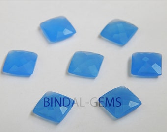 15 Pieces Lovely Lot Blue Chalcedony Square Shape Checker Cut Briolettes Gemstone For Jewelry