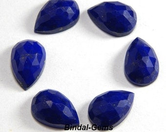 25 Pieces Wholesale Lot Finest Quality Lapis Lazuli Pear Shape Rose Cut Gemstone For Jewelry
