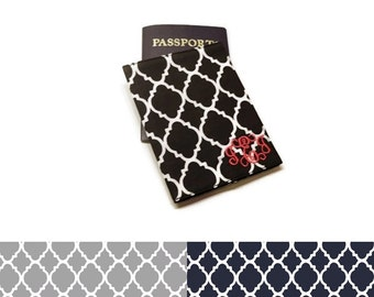 Personalized monogrammed Quatrefoil passport cover, case, holder. Choose your colors: Black, Gray, Navy. Graduation gift idea!