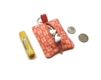 Mini coin purse keychain, Small zippered pouch, earbud case. Purse organizer. Stocking stuffer. Teen gift idea. Coral and red!
