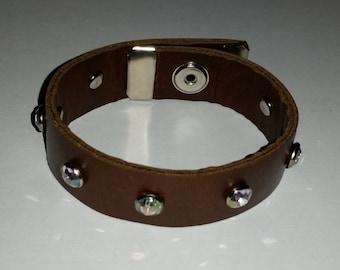 Premium BROWN Leather Stud Faux Diamond Custom Charm Snap Bracelet