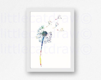 Dandelion Print Watercolor Painting Home Decor Wall Art Watercolour Abstract Art Dandelion Unframed Art Print