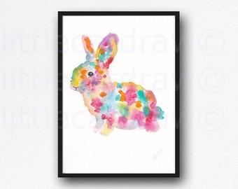 Bunny Rabbit Watercolor Painting Art Print Illustration Woodland Wall Art Colorful Home Decor Bunny Art Print Unframed