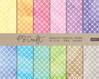 Lattice Watercolor Digital Papers, Lattice Paper Pack, Lattice Patterns, Watercolor Papers, Lattice Patterns,