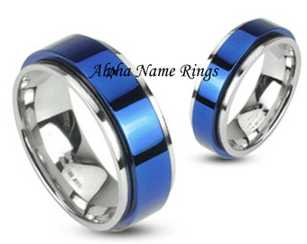 Hand stamped Steel & Blue Spinner Ring - Hand Stamped Name Ring 6-8mm - ANRH1657