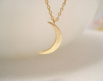 Tiny Crescent moon necklace..Simple, Minimalist, handmade jewelry, everyday, to the moon, bridesmaid gift, birthday gift