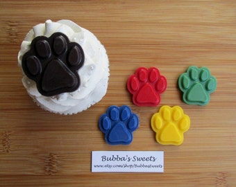 PAW PRINT Chocolate Cupcake Toppers - (24) PUPPY Paws/Dog Party