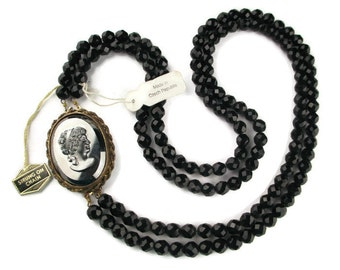 Czech Republic Long Victorian Revival Hematite Glass Cameo Strung-on-Chain Faceted Black Glass Necklace- Convertable Double Clasp/Brooch