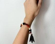 Brown ombre bracelet/ real stones bracelet with leather tassel .