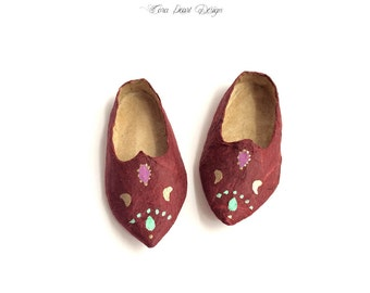 Miniature Paper Shoes in Decorative Box - Moroccan Babouche Slippers - Paper Miniature Turkish Doll Shoes - Decorative Shoes - Shoe ornament