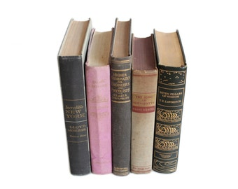 Vintage Black and Purple Hardcover Book Collection Set of 5