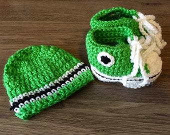 Baby Boy Green Crochet Sneaker Shoes & Hat Set 6/9m