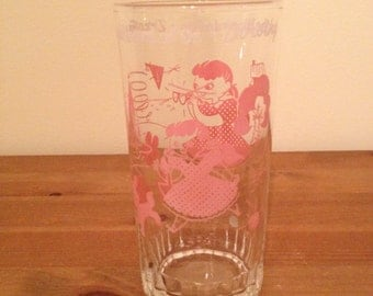 Dorothy The Wizard of Oz Pink Drinking Glass Vintage