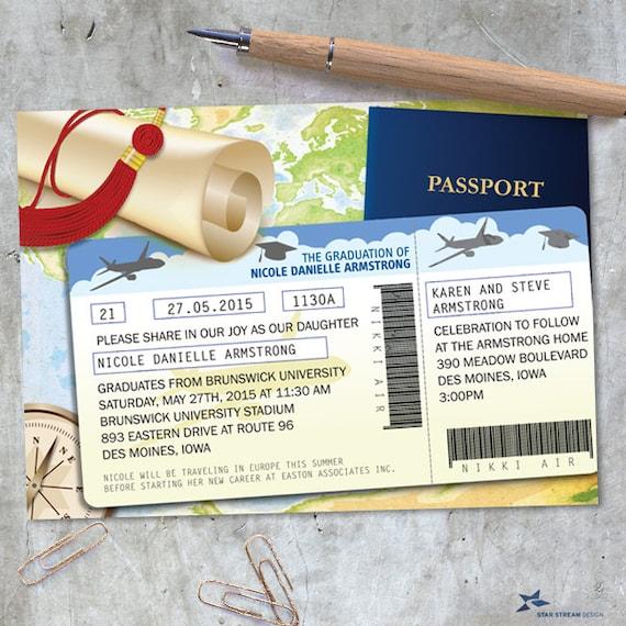 world travel documents graduation announcement invitation printable