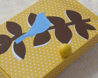 Yellow Bluebird Up Cycled Box, Recycled Box, Bluebird Storage Box, Jewelry Box, Trinket Box, Recycled Cigar Box