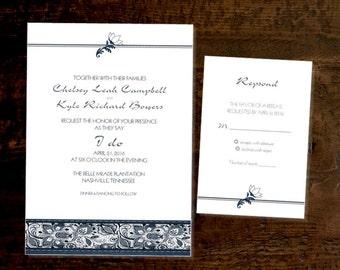 Denim Lace wedding invitation and RSVP