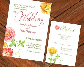 Wedding Invitation & RSVP Card Watercolor Flowers