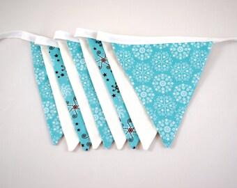 Winter Snowflake Holiday Pennant Bunting Banner Garland