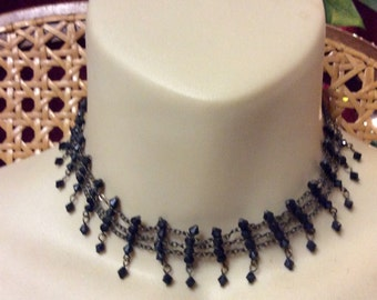 Vintage 1940's faceted black beads on chains necklace.
