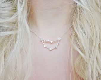 Capricorn Constellation Star Sign Zodiac Astrology Space Sci Fi Dainty Silver Pendant Necklace Jewellery Jewelry