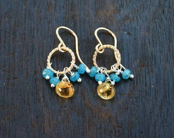 Citrine and apatite gemstone cluster earrings. Gemstone dangle drop earrings. Gold filled citrine earrings. Blue apatite