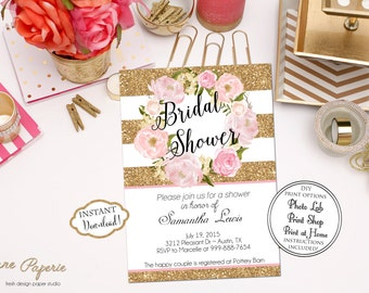INSTANT DOWNLOAD -  Floral Gold Glitter Stripe Bridal Shower Invitation - Peony Watercolor Invite - Pink and Gold - Blush Pink Peony - 0155