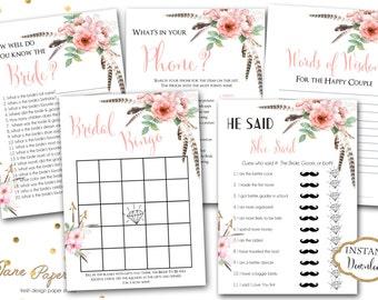 INSTANT DOWNLOAD - Boho Arrow Pink Floral BRIDAL Games Package - Printable Boho Bridal Shower Games - Boho Floral Game Pack - 0195