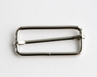 10 pcs 2 inch x 0.75 inch Rectangular Slider with Movable Pin Silver Color