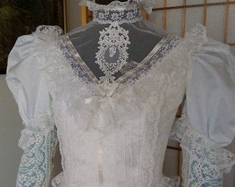 Romantic Victorian Style Wedding Dress of Satin and Lace