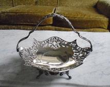 "Vintage Pairpoint Quadruple Silver Plate Bridal Basket Fruit Bowl Dish with Handle ""L229"""