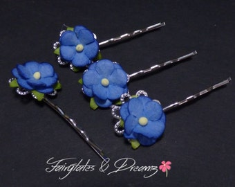 Sweetheart Blossoms Bobby Pins, Hair Grips, set of 4 Rose Hair Pins, For the Bridesmaids, UK