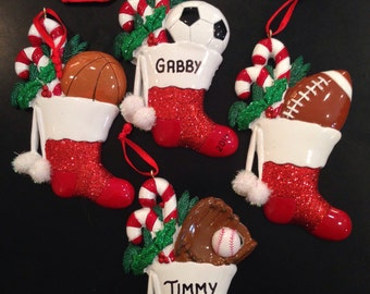 Soccer, Football, Baseball Personalized Christmas Ornaments
