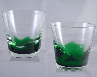 Erickson Glass Whiskey Tumblers Hard to Find Emerald Green 2pcs