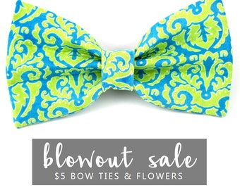 """Dog Bow Tie Collar Accessory Sale Ready to Ship Neon Green Blue Plaid """"The Buzz"""""""