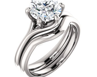 FOREVER ONE Moissanite Solitaire Engagement Ring Set in 14k White Gold - ST811221  (Other stone options available) Certified Appraisal
