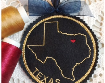 I Heart Texas Coaster and Ornament Machine Embroidery Design Instant Download I Love Texas with Positionable Heart