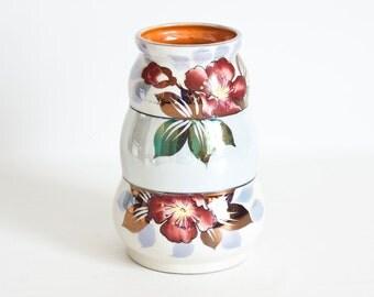 Vintage Goldcastle Japanese Lusterware Vase with Hand Painted Flower Print Porcelain, Chikusa Japan