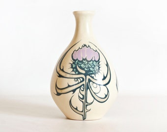 Vintage Aviemore Pottery Thistle Bud Vase, Scottish Pottery Symbol of Scotland