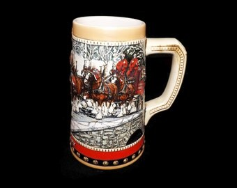 Vintage 1988 Budweiser Stein, Beer Mug, Collectible, Collectors Series, Clydesdales, Anheuser Busch, Gift For Him