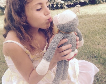 SOLD!!! Frog Prince frog toy, frog plush, sock monkey, plush toy, stuffed animals, handmade toys, nursery decor, fairytale toys,