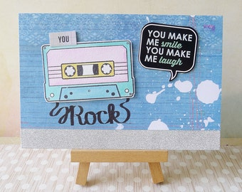 Handmade Greeting Card with Cassette and Paint Splatters