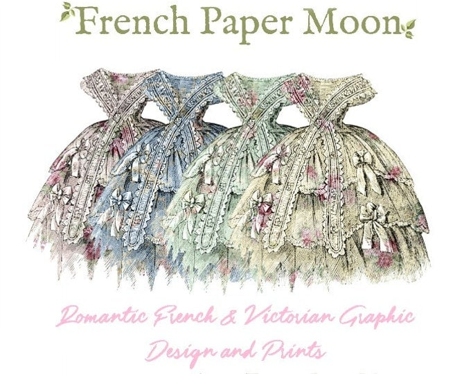 Printable Victorian Wallpaper Dresses, Shabby Floral Dress Scrap, Party Dress, Paper Doll Dress