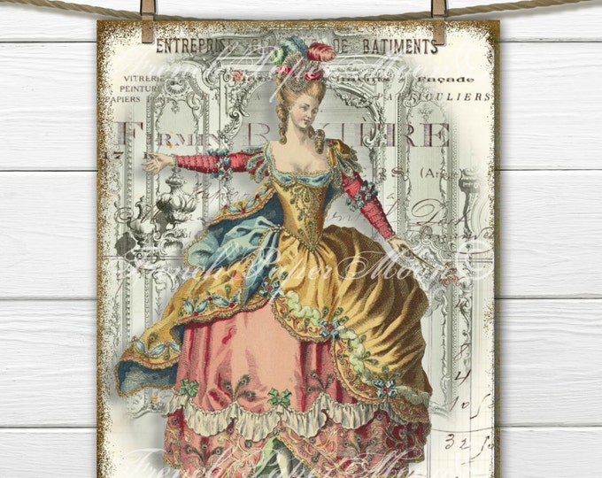 Vintage French Fashion Digital Collage, Marie Antoinette Download, 18th Century French Fashion Digital Sheet