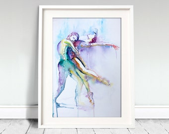 Watercolor Print.  Wall art portrait of  ballet dancers.  Fade out lines