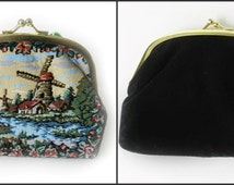 Vintage Tapestry Coin Purse, Windmill And Stream Petit Point, Tapestry Weave, Change Purse, Mid Century